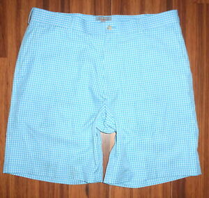 MENS PETER MILLAR WICKING LIGHT BABY BLUE POLYESTER DRY FIT FLAT GOLF SHORTS 36