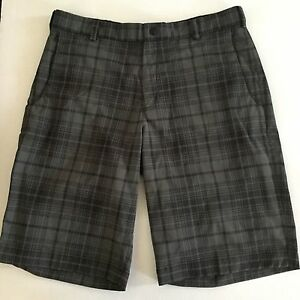 Mens Nike Golf Tour Performance Dri Fit Gray Plaid Shorts Size 33
