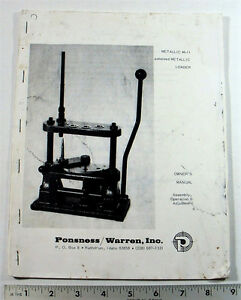 PONSNESS WARREN OWNERS MANUAL METALLIC M-11 (PHOTO-COPY) PAGES: 20