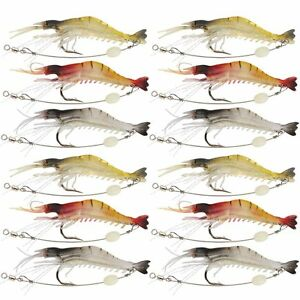 Shelure Soft Lures Shrimp Bait Set Kit Lots Freshwater Trout Bass Salmon 12 pcs