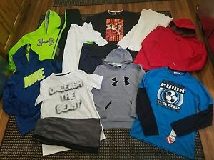 Boys 12 pc Clothing Lot Under Armour Nike Puma Hoodies Shirts Shorts XL 14-16