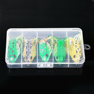 USA Lot 5Pcs Large Frog Topwater Fishing Lure Crankbait Hooks Bass Bait Tackle
