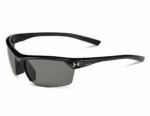 NEW Under Armour Zone II 8630050 0000008 Shiny Black  Gray Polarized Sunglasses