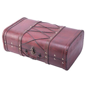 New Vintiquewise Antique Cherry Wooden Suitcase with Leather X Design QI003234