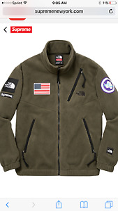 SUPREME THE NORTH FACE Olive Fleece Jacket SIZE XL Pullover Headband Backpack