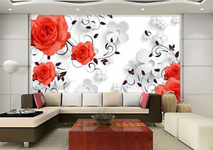 3D Red Flower Fresh Pattern 156 Wall Paper Wall Print Decal Wall AJ WALLPAPER CA