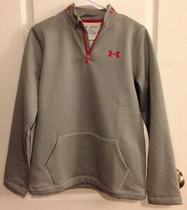 Sz XL NWT Youth Boys Under Armour Gray Red 14 Zip Pull Over ColdGear Sweatshirt