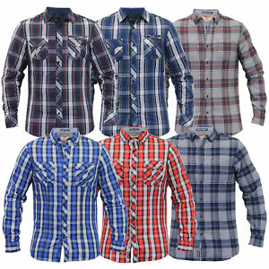 mens Tokyo Laundry checked tartan shirts Dissident collared long sleeved casual