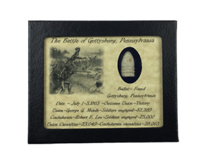 Dropped Civil War Bullet from Gettysburg in Matted Display Case with COA $21.89