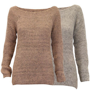 ladies boat neck jumper Threadbare womens cable knitted ribbed sweater winter