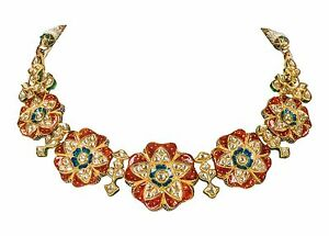 Designer Necklace With Finest Kundan Meena Work & Uncut Polished Diamonds