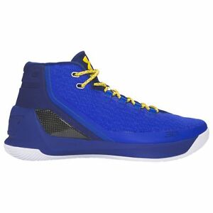 UNDER ARMOUR Curry 3 Boy's Basketball Shoes Blue Yellow Taxi - Youth Size 5.5