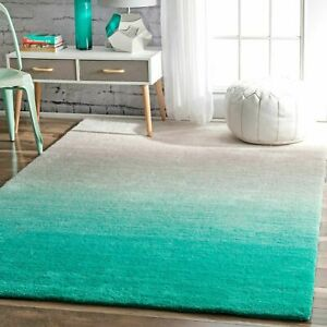 nuLOOM Hand Made Modern Ombre Plush Shag Area Rug in Turquoise Blue and Gray