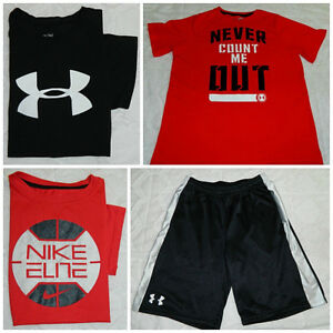 LOT of 4 UNDER ARMOUR NIKE Youth XL X-Large SHORTS SHIRTS Black Red ATHLETIC   D