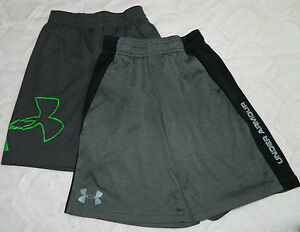 LOT of 2 UNDER ARMOUR Youth BOYS Small 6 SHORTS Basketball Athletic GRAY Green L
