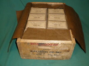 Winchester Repeating Arms Wood Shell Box 49 Empty Boxes GOB Caliber 30 M2 1948