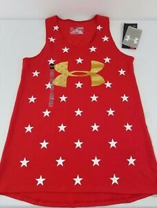 NWT GIRLS UNDER ARMOUR USA STARS BLUE RED HEAT GEAR TANK TOP SHIRT S, M, L, XL $18.99