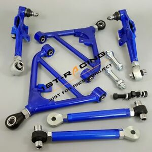 For Nissan 240SX S13 180SX 300ZX Adjustable Front+Rear Lower Control Arms Blue