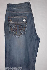 Mens Blue Jeans BLACK BRAND LOW RISE BOOT CUT Cross Design HEGE DESTROYED 30x30
