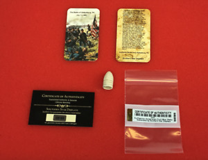 Dropped Civil War Relic Bullet from Gettysburg PA with Information Card