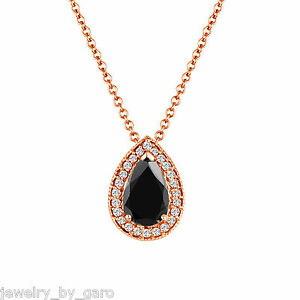 1.12 Carat Pear Shape Enhanced Black Diamond Pendant Necklace Rose Gold Unique