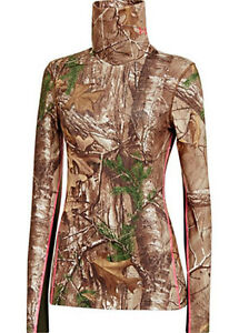 UNDER ARMOUR COLD GEAR WOMEN INFRARED EVO HUNTING SCRUNCH NECK SHIRT S CAMO