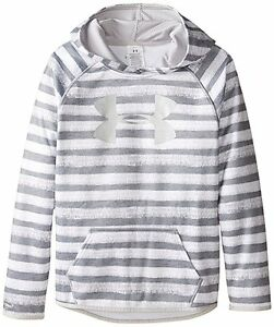 Under Armour Girls' Youth Armour Fleece Printed Big Logo Hoodie True Gray Size M