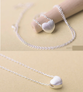Sterling Silver Simple Brushed Love Heart Pendant Chain Necklace Gift Box I14 $9.98