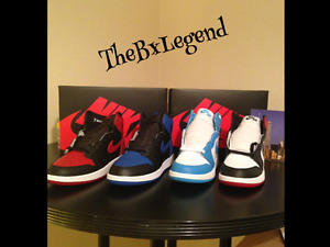 4 PAIRS Air Jordan's 1s Royals1 Black toe1UNC 1Banned 1All brand New size 7y