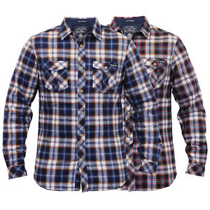 mens checked Tokyo Laundry tartan flannel shirts collared long sleeved casual