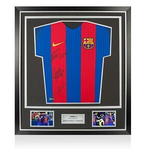 Lionel Messi Neymar Jr & Luis Suarez Front Signed Barcelona 2016-17 Home Shirt