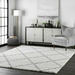 nuLOOM Contemporary Modern Geometric Shanna Shag Area Rug in White and Gray $63.97