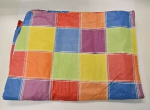 NEW Yellow Orange Red Green Purple Blue Check Vinyl Tablecloth 60quot;x 84quot; Oblong