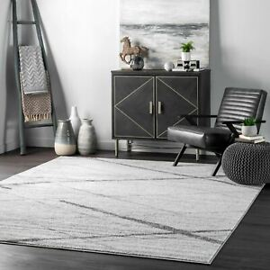 nuLOOM Contemporary Modern Geometric Solid and Striped Area Rug in Gray Multi $62.99