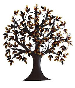 Large Rustic Metal Tree Wall Art Sculpture Plaque Branches Leaves Home Decor NEW $98.95