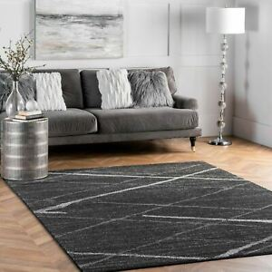 nuLOOM Contemporary Modern Solid and Stripes Area Rug in Dark Grey $62.99