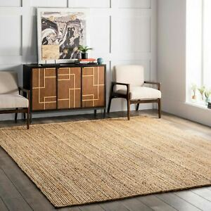 nuLOOM Hand Made Contemporary Modern Simple Braided Jute Area Rug in Natural Tan $88.99