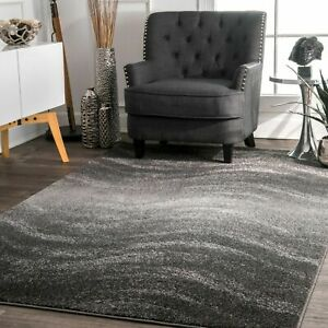 nuLOOM Contemporary Modern Waves Design Area Rug in Gray $37.99