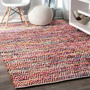 nuLOOM Hand Made Contemporary Cotton Blend Area Rug in Red Orange Yellow Multi