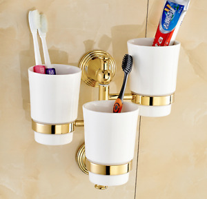 Polished Gold Brass Bathroom Three Cups Tumbler Toothbrush Holder  Wall Mounted