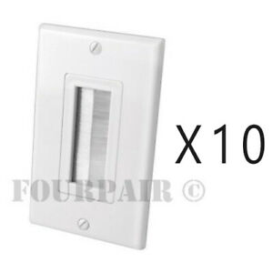 10 Pack Brush Bristle Opening Decor Bulk Cable Wire Wall Plate Face Plate White