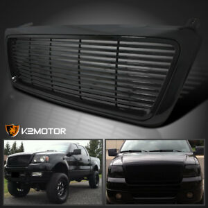 Fit 2004-2008 Ford F150 Pickup 1PC Black Billet Style Front Hood Grille Black