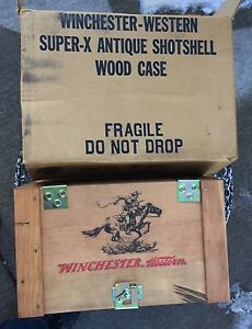WINCHESTER WESTERN SUPER-X ANTIQUE SHOTSHELL WOOD CASE AMMO BOX CRATE NEW HAVEN