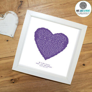 Kodaline THE ONE Personalised Framed Print HEART Valentine#x27;s Day Gift Present