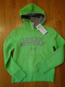 NWT UNDER ARMOUR HOODIE LOOSE FIT LIME GREEN GIRLS YOUTH MEDIUM
