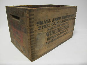 Vintage Wood Winchester Ammo Box 12 gauge Shot Gun Cartridge with Paper Label