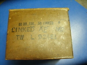 AMMO BOX CARDBOARD WAXED  FOR .50 CAL BOX IS EMPTY W.W.II