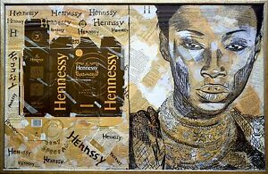 Contemporary Art DANOR Painting African Queen Woman Hennessy Alcohol Drink Noir