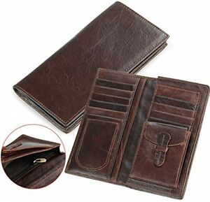 Men's Luxury Genuine Cowhide Leather Business Casual Long Bifold Wallet NEW!