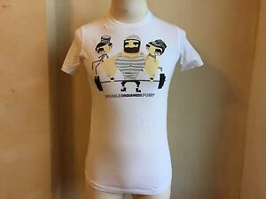DSQUARED² COOL WHITE DOUBLE PUMP MUSCLE HEAD CELL MATES SOFT COTTON T SHIRT S S